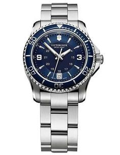Featuring a reliable Swiss movement and convenient end-of-life indicator, this ladies' watch is an ideal accessory for everyday wear. - Navy blue dial with silver-tone hands and markers - Stainless st