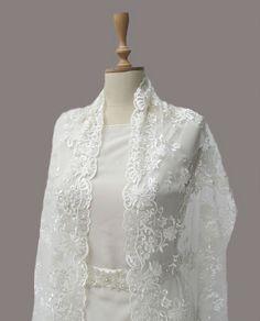 Ivory Lace Bridal Shawl Pearl Fringes by gebridal on Etsy, $35.00