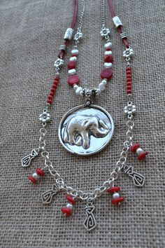 Boho Necklace Sterling Silver Tribal Ethnic Elephant by LKArtChic