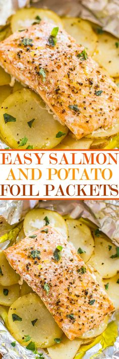 Easy Salmon and Potato Foil Packets - Averie Cooks- Easy Salmon and Potato Foil Packets – Juicy, moist salmon that's loaded with flavor! Ready in 30 minutes, zero cleanup, and a foolproof way to cook salmon and look like a gourmet cook! Salmon Dishes, Seafood Dishes, Seafood Recipes, Seafood Meals, Seafood Bake, Salmon Meals, Salmon In Foil Recipes, Salmon Food, Gourmet Cooking