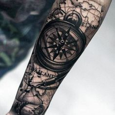 Men's Compass Rose Forearm Tattoo
