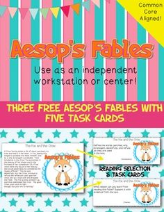 This is a task card freebie! Use it as an independent workstation or center. It contains three Aesop's fables and 5 task cards with each fable. Please provide feedback after purchase. I appreciate your feedback!If you have questions, concerns, or suggestions, please feel free to email me at teachcreativetothecore@gmail.com.