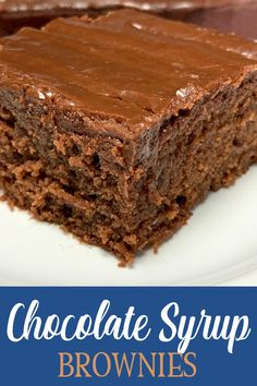 Chocolate Syrup Brownies are the BEST homemade brownies. This recipe is super easy and makes a nice big 9 x 13 pan. Serve these warm fudgy brownies with a cold glass of milk for a treat that you wont soon forget! Brownie Recipe With Chocolate Syrup, Easy Chocolate Desserts, Homemade Chocolate, Brownie Recipes, Chocolate Recipes, Easy Desserts, Delicious Desserts, Dessert Recipes, Sweets