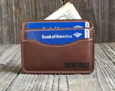Slim Leather Wallet - Engraved Wallet - Credit Card Holder - Crazy Horse