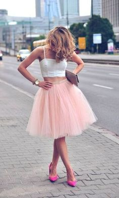 Look Rose Quartz: Saia de Tule