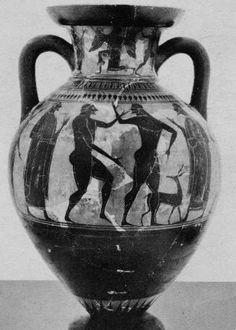 Affecter (fl. c. 550 - 530/520 BCE), Museo Nazionale Tarquiniese, Tarquinia 629 (543/542-525 BCE; excavated at Tarquinia, Etruria, Italy). Black-figure neck-amphora. Side A.