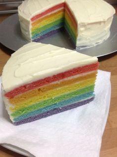 Il y a deux semaines c'était l'anniversaire de mon homme, et pour cette occasion j'avais envie de marquer le coup au niveau du gâteau, le fameux rainbow cake me faisait de l'œil...