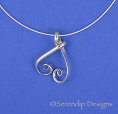 Silver Inverted Heart Pendant  SN5 by SerendipDesignsJewel on Etsy, $29.00