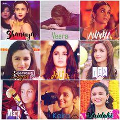 Alia Bhatt and her characters