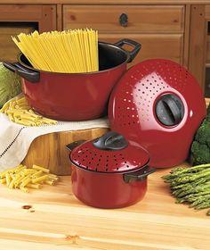 Set Of 2 Pots With Strainer Lids