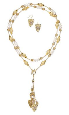 Single-Strand Necklace and Earring Set with SWAROVSKI ELEMENTS, White Lotus™ Cultured Freshwater Pearls and Gold-Finished Brass Drops