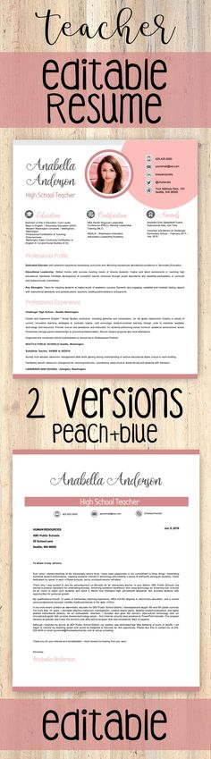 *** 2 *** VERSIONS of Teacher Resume Template | Teacher CV Template + Cover Letter and References Letter Templates for MS PowerPoint and Google Slides  → FULLY EDITABLE (headers, lines, and icons) with PowerPoint and Google Slides #resumetemplate #teacherresume #resume Reference Letter Template, Cover Letter Template, Cv Template, Letter Templates, First Year Teachers, New Teachers, Teacher Introduction Letter, Learning Quotes, Education Quotes