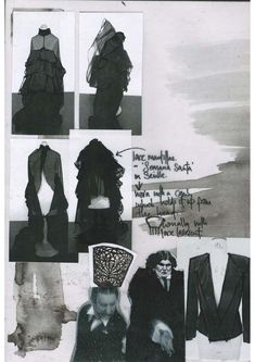 Fashion Sketchbook - fashion design development page with research & draping ideas; graduate fashion portfolio // Victoria Rowe