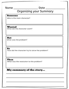 SWBST (Someone Wanted But So Then) graphic organizer. Use this printable with your students to help them organize important information and create a strong summary.