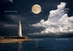 Lighthouse at Night | Lighthouse at night - Stock Image