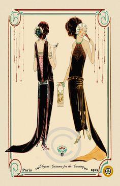 Beautiful Art Deco Fashion Girls Elegant Costumes for the Evening Designer Paris Decorative boarder date of 1925 Giclee Fine Art Print 11x17 by DragonflyMeadowsArt on Etsy https://www.etsy.com/listing/163513622/beautiful-art-deco-fashion-girls-elegant