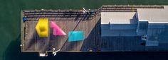 SPORTS punctuates the city of santa barbara with colorful matrix pavilions