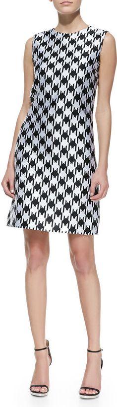 Michael Kors Houndstooth Sleeveless Shift Dress