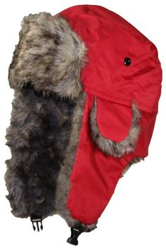d40a2df48d9 Best Winter Hats Solid Color Nylon Russian Trapper W Soft Faux Fur HatOne  Size Red -- Want to know more