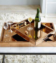 West Elm Mirror Glass Copper Tray