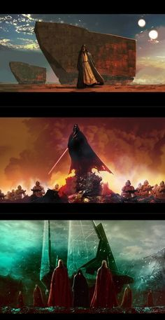 Tatooine at dusk Vader post battle Palpatine and Royal Guards by LivioRamondelli