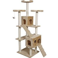"Cat Kitty Cat Tree Tower Condo Furniture Scratch Post Pet House, 73"" , Toy Bed Beige * You can find more details by visiting the sponsored image link."