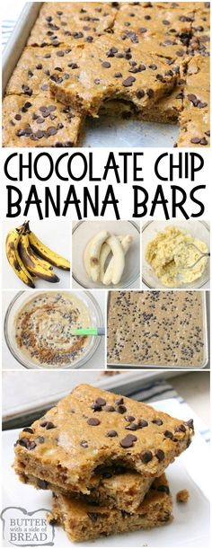 Chocolate Chip Banana Bars are a simple delicious banana bar recipe thats even better than banana bread Made with 5 ripe bananas theyre the perfect banana recipe Great f. Frozen Banana Recipes, Banana Dessert Recipes, Chocolate Chip Recipes, Banana Bread Recipes, Overripe Banana Recipes, Ripe Banana Recipes Healthy, Banana Recipes Simple, Banana Recipes For Breakfast, Recipe With Ripe Bananas