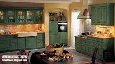 Stunning Country Style Kitchen Cabinets Design Ideas - addison news Kitchen Cupboard Designs, Green Kitchen Cabinets, Kitchen Cabinet Styles, Kitchen Design, Kitchen Dining Sets, New Kitchen, Kitchen Decor, English Country Kitchens, Country Style Living Room