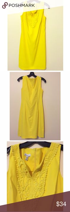 Kim Rogers Retro '60's style Yellow Dress sz 8 97% polyester 3% spandex.  Zipper back. Knee length Kim Rogers Dresses Midi