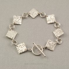 Sterling silver bracelet toggle bracelet  link bracelet diamond shaped Precious Metal Clay jewelry fine silver hand made jewelry