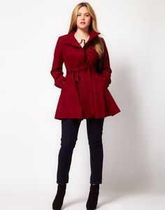 Fit And Flare Coat by ASOS, comes in black too. Perfect for a curvey woman. Especially balances a woman who is big busted.