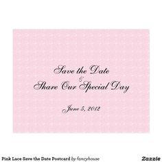 Pink Lace Sav e the Date Postcard 50% off with code ZAZHELLO2017