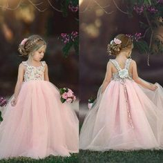 Buy Pageant Flower Girl Dress Kids Fancy Wedding Bridesmaid Gown Formal Dresses at Wish - Shopping Made Fun Princess Flower Girl Dresses, Tulle Flower Girl, Wedding Flower Girl Dresses, Dress Wedding, Dress Girl, Tulle Dress, Lace Dress, Vintage Girls Dresses, Vestidos Vintage