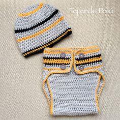 El conjunto de cobertor de pañal y gorro para niños lo hicimos en los colores que habíamos usado en el gorrito caído para hombres de la semana pasada :) English subtitles: crochet diaper cover and beanie for babies!