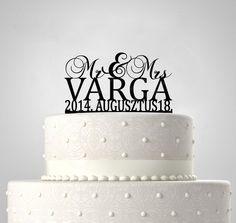 Mr & Mrs, EGYEDI FELIRATTAL esküvői tortadísz Silhouette Cake, Cake Toppers, Birthday Cake, Desserts, Food, Tailgate Desserts, Deserts, Birthday Cakes, Essen