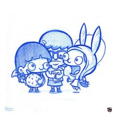 Blue Doodles #46: Gene, Tina and Louise from Bob's Burgers!