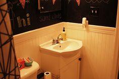Awesome bathroom with chalkboard walls!