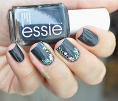Essie fall collection 2014 - The perfect cover up - dark green with floral pattern
