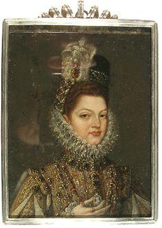Clara Eugenia. Bartolome Gonzales. oil on copper. Spain, ca. 1600.
