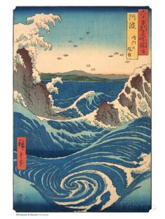 Whirlpool at Naruto, Awa Province - Posters av Ando Hiroshige på AllPosters.se