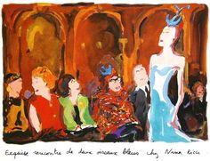 Exquise rencontre de deux oiseaux blues chez Nina Ricci, illustration Jean-Philippe Delhomme Rene Gruau, Jean Philippe, Brigitte Bardot, Fashion Illustrations, Doll Houses, Creative Inspiration, Graphic Illustration, Cover Art, Illustrator