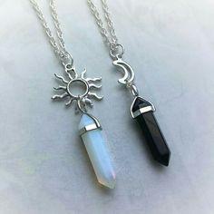 Bff Necklaces, Best Friend Necklaces, Best Friend Jewelry, Friendship Necklaces, Crystal Jewelry, Crystal Necklace, Sun And Moon Necklace, Daisy Necklace, Moon Jewelry