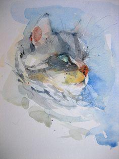 "Aquarell ""Katze"",Größe 17x24 cm"