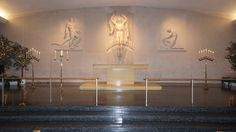 #vtwmc | Basic Candlelight Package in Brass with lit Fichus trees | Spiral Side Candelabra also available | War Memorial Chapel