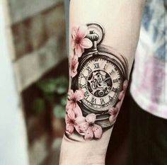 Gorgeous Cherry Blossom with Clock Tattoos