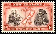 King George VI Postage Stamps: New Zealand. of Jan of March Centenary of Proclamation of British Sovereignty Postage stamps New Zealand. Rare Stamps, Old Stamps, Vintage Stamps, George Vi, Nz History, History Major, James Cook, New Zealand Art, Kiwiana