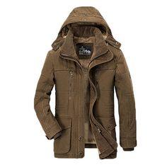 Winter Thicken Warm Multi Pockets Solid Color Detachable Hood Jacket for Men
