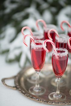 Festive Christmas morning cranberry, peppermint, mimosa's!