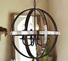 Dumont Mirrored Chandelier #potterybarn---> Perfect mix of different eras (old world/new world)