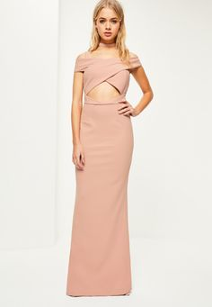 Missguided - Pink Crepe Bardot Strap Detail Maxi Dress